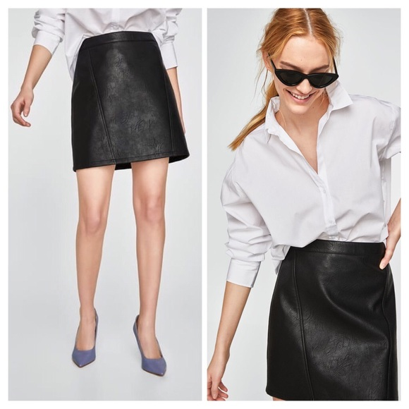 84b25c536ce5 Zara Black Faux Vegan Leather Mini Skirt w/ Pocket.  M_5b172a3b8ad2f91ffb4e5020